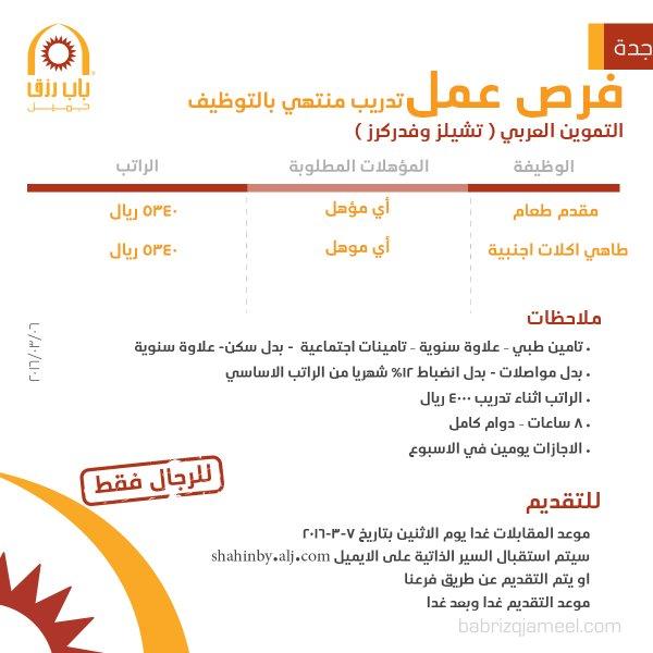 غدا الإثنين التقديم على تدريب منتهي بالتوظيف في التموين العربي - جدة