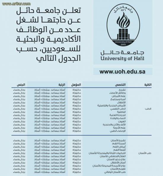 وظائف أكاديمية وبحثية للجنسين في جامعة حائل
