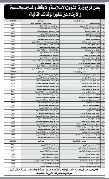 وظائف إمام ومؤذن  في محافظات الجبيل وبقيق والنعيرية