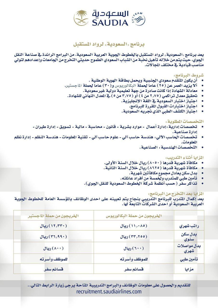 برنامج الخطوط السعودية لرواد المستقبل