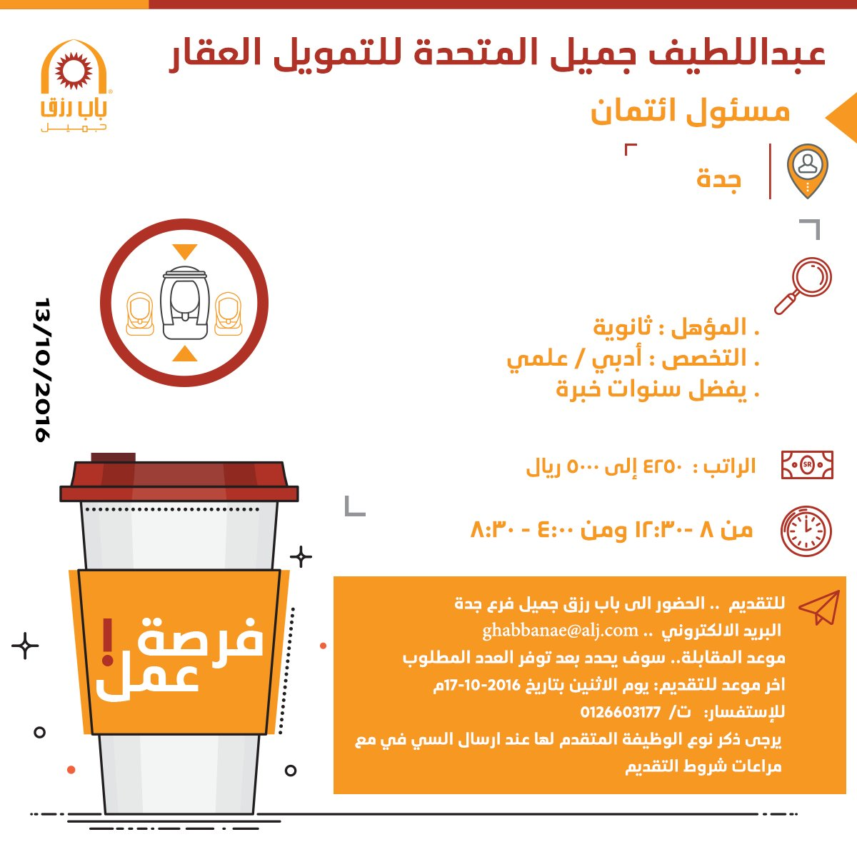 مطلوب مسؤول ائتمان لشركة عبد اللطيف جميل المتحدة لتمويل العقار - جدة