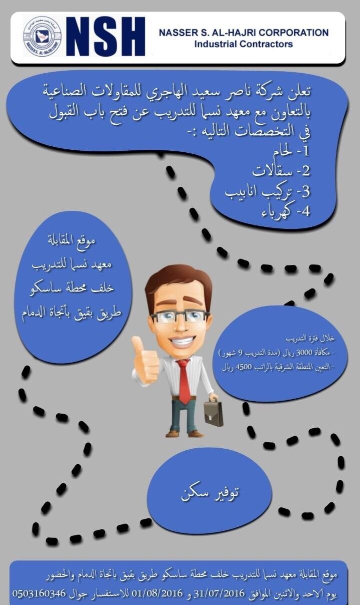 تدريب منتهي بالتوظيف في شركة ناصر سعيد الهاجري للمقاولات الصناعية - المنطقة الشرقية