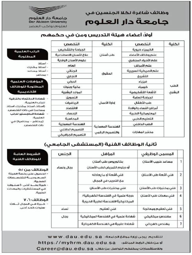وظائف أكاديمية وفنية للجنسين في جامعة دار العلوم الرياض